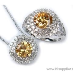 Chic copper topaz CZ jewellery set for ladies