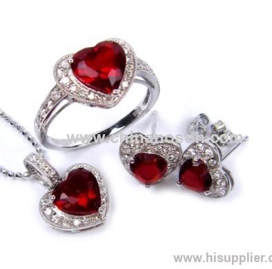 Heart Shape Ruby Pendant Earrings and Necklace Set