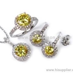 Copper topaz jewellery set with cubic zirconia stones