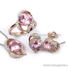 Fashion pink heart shape CZ jewellery set for women