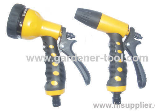 plastic water hose nozzle with soft grip.
