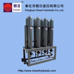 hydraulic bladder accumulator station
