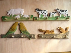 Animal Standing On Wood Carved Clothing Hanger