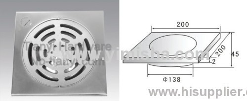 Stainless Steel Anti-Odour Floor Drain with Outlet Dia.138mm