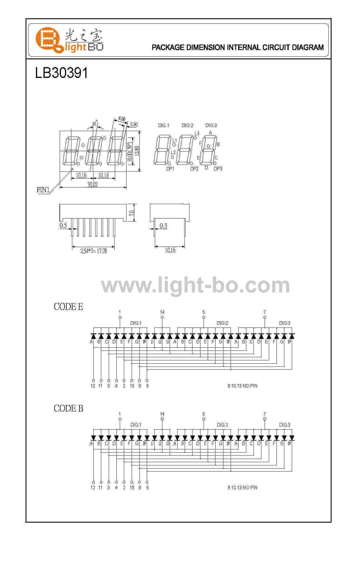 Triple Digit 7 Segment Led Displays Package Dimensionscircuit Circuit Diagram Diagrampin Out
