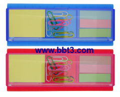 Promotional plastic box with sticky notes,clips and ruler