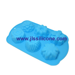 6-cavity flower silicone baking cake molds