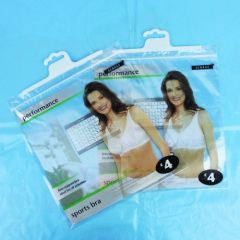 Clear zipper cloth plastic hanging hook bag