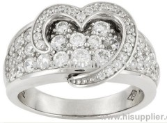 Heart shape brass CZ diamond ring