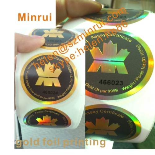 Custom high security hot gold foil destructible stickers with logo and serials number printing label