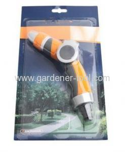 2-pattern metal garden water nozzle with thumb push valve