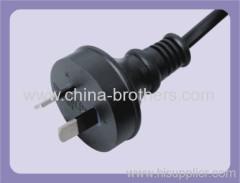 Australian power cord plug with 3 pin flat plug molded
