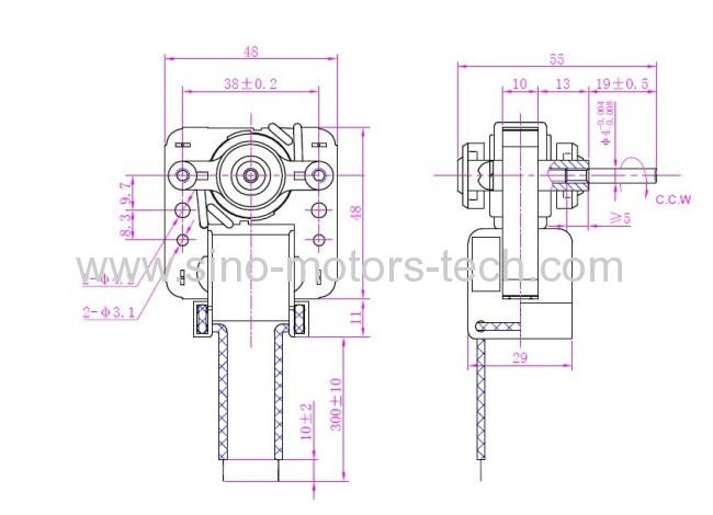 shaded pole motor YJ48 10MM height and 20MM height