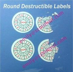 Round Destructible Tamper Evident Labels