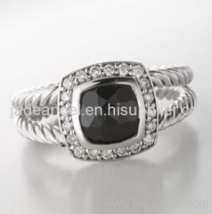 sterling silver ring 7mm black agate petite ring