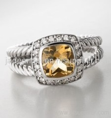 sterling silver 7mm citrine petite albion ring 925 silver jewelry