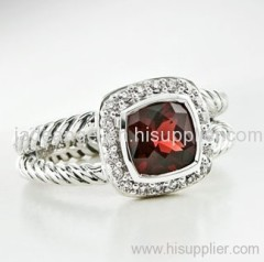 sterling silver ring 925 silver collection jewelry 7mm garnet petite albion ring
