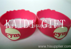 cute silicone bracelet logo debossed with flouncing edge