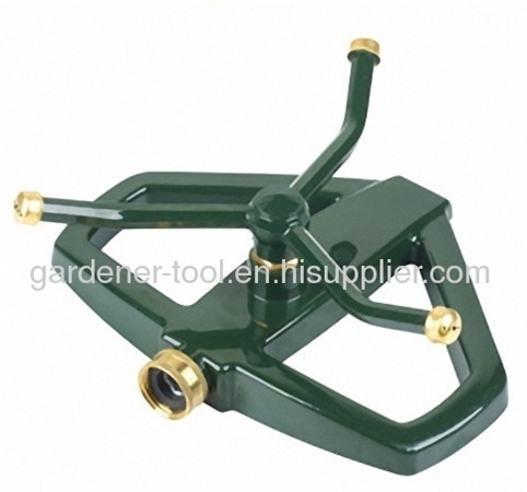 3 arm aluminium alloy rotary water sprinkler with zinc base