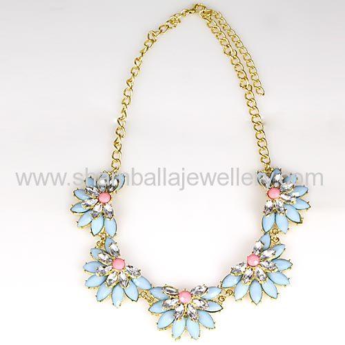 2014 Resin stone Rhinestone Flower Choker Bib Necklace