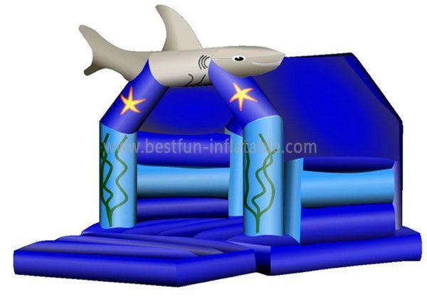 Blue Inflatable Shark Bounce House
