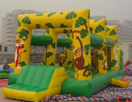 Jungle Bouncer With Small Slide Inflatable Bouncer Combo