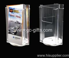 Manual rotational clear acrylic display rack for leaflets