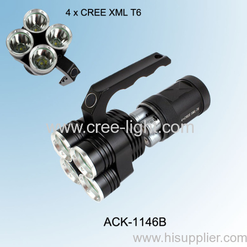 New Design! Hot! 4X CREE XM-L T6 LED 40W High Power Aluminum Hunting/ Camping Torch ACK-1146B