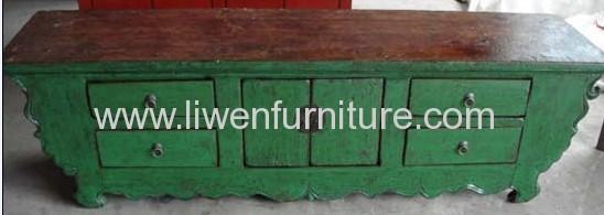 Antique green TV standing