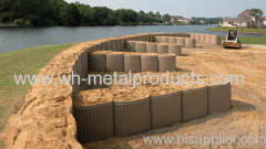 Flood control wire mesh gabion retaining walls