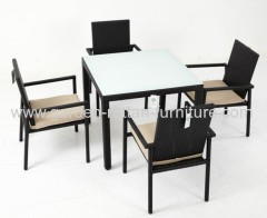 Garden rattan furniture square table dining set