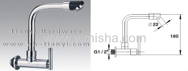 Horizontal Brass Kitchen Faucet with Single Handle