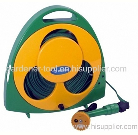 Garden Flat Hose Reel With 50FT Flat Hose And Nozzle For Car Wash