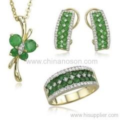 14K gold green cubic zirconia jewellery sets