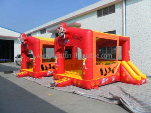 Red Inflatable Tiger Bouncer With Slide