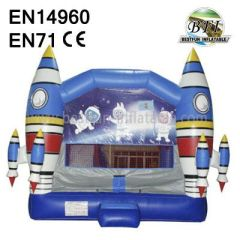 Space Theme PVC Inflatable Rockets Castle