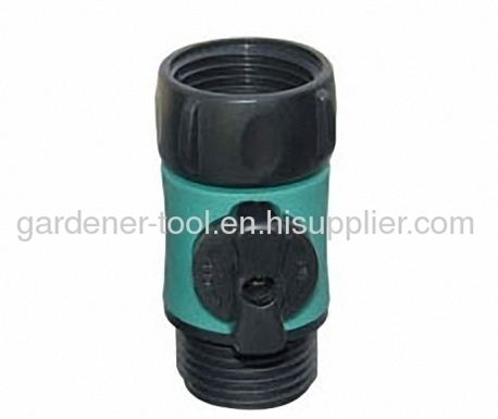 Deluxe plastic garden water flow regulator with valve.