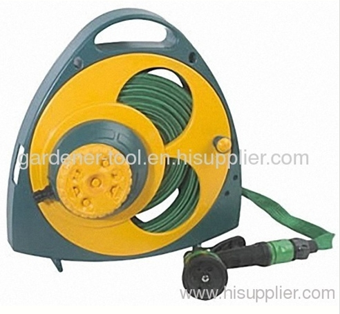 Plastic 15M Flat Hose Reel with plastic nozzle and plastic sprinkler