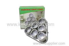 6pcs stainless steel magnetic cruet set & spice jar canister condiment set