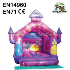 Pink Inflatable princess bouncer castle
