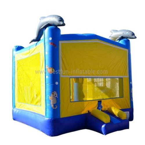 Yellow Inflatable Dolphin Jumping House