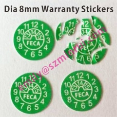 Green Round Warranty Stickers In Rolls