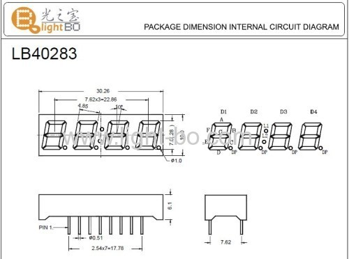 Super Amber Four-Digit 0.28(7mm) Cathode 7-Sement LED Display ,30.2 x 10 x 6.1 mm