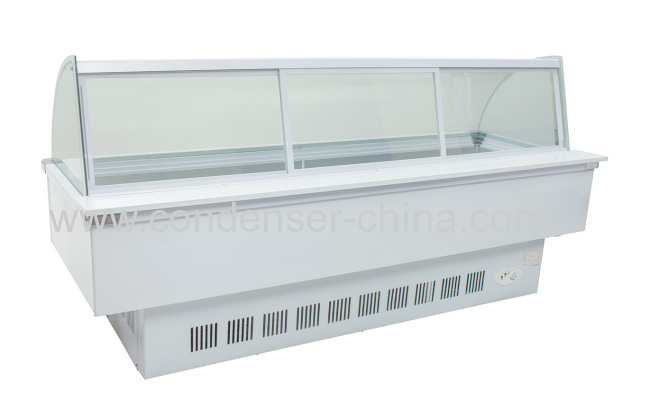 Curved commercial use frozen food display cabinet