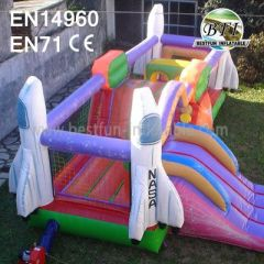 Pink Inflatable Rocket Bouncer With Slide