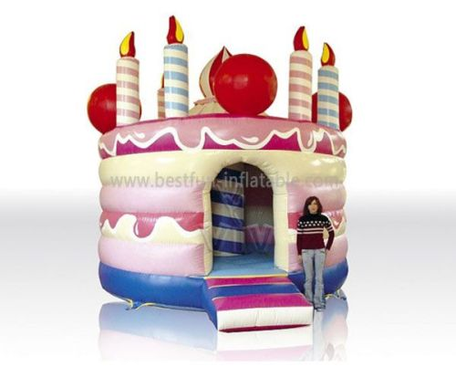 Jump House Birthday Cake Inflatable Bouncer