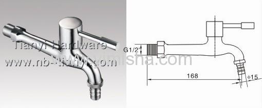 168mmx G1/2x dia.15mm Brass Ceramic Sheet Bibcock for Washing Machine