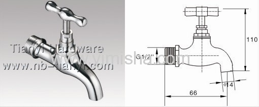 66mmx G1/2x dia.14mm Brass Bibcock for Wash Basin