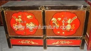 Antique Mongolia painting cabinet