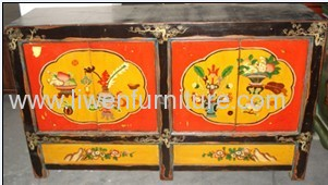 Antique Mongolia painting cabinet